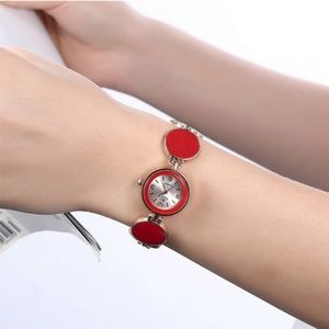 Accessories - soxy rose gold-tone red stones watch women 22mm